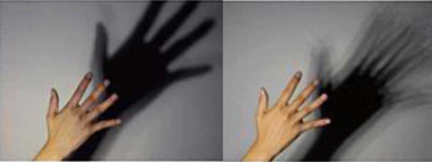 LED Shadows: On the left, a shadow from a COB. On the right, a shadow from a LED with multiple light sources