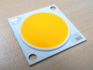 Citizen COB frontside, The yellow substance is phosphor, which turns the blue light of the chip white