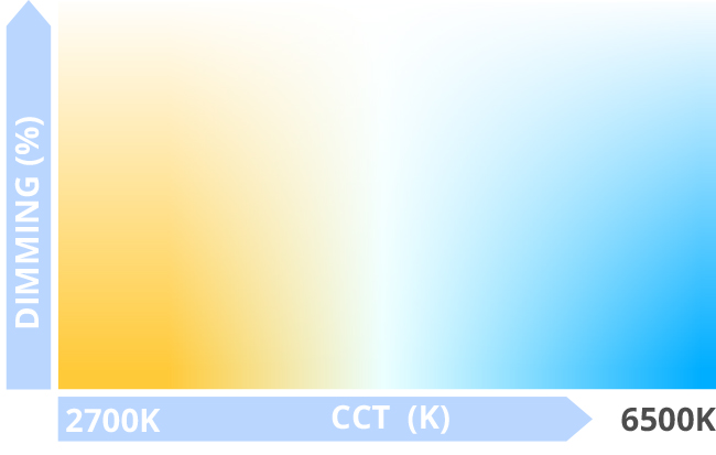 Tunable white color chart